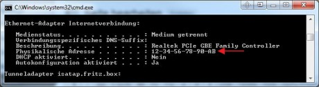 MAC-Adresse der Netzwerkkarte