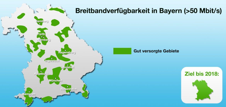 Breitbandverfügbarkeit in Bayern mit >50 Mbit/s