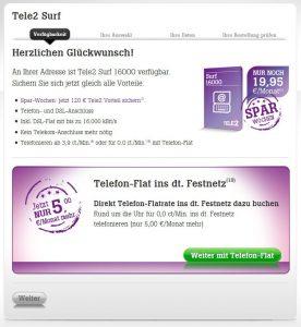 Tele2 DSL 16000 verfügbar