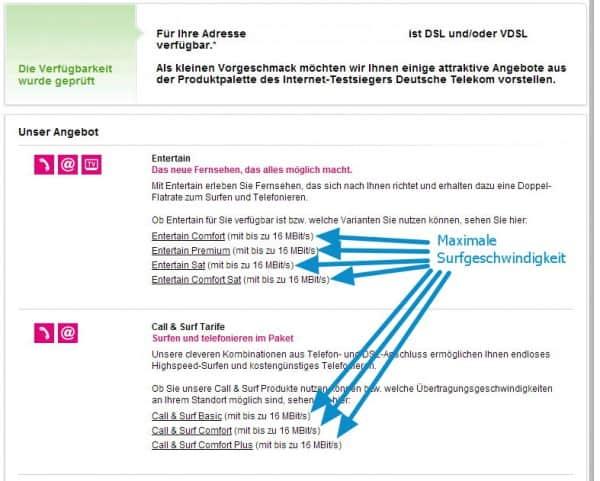 Telekom DSL/VDSL verfügbar