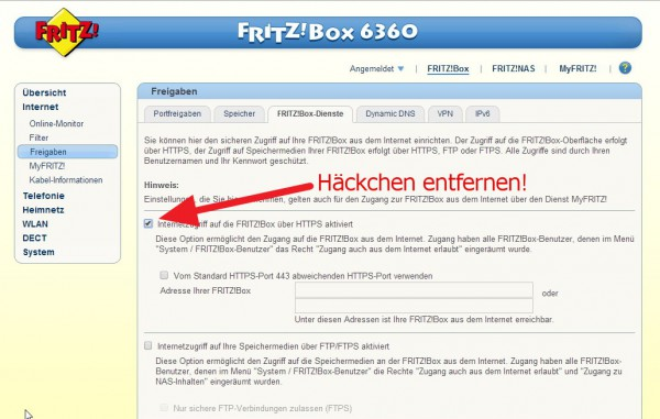 Fritzbox 6360 Internetzugriff deaktivieren