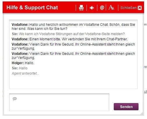 Vodafone Chat-Hilfe