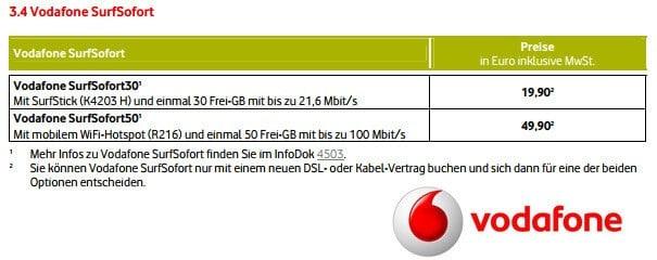 Vodafone Surfstick bei DSL-Störung oder Neuvertrag