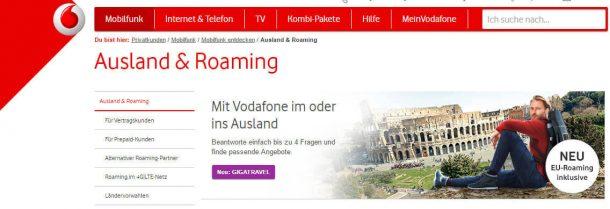 Vodafone Roaming im Ausland