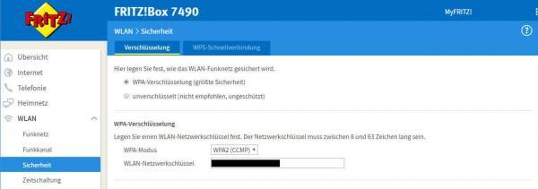 WLAN-Netzwerkschlüssel anzeigen-fritzbox