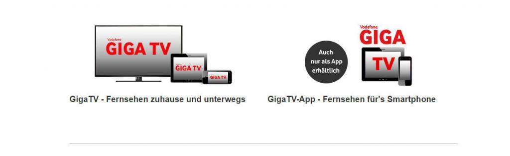 Vodafone Giga-TV zu Telefon und Internet
