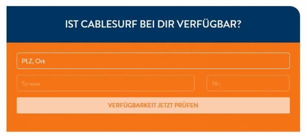 Cablesurf Verfügbarkeit prüfen