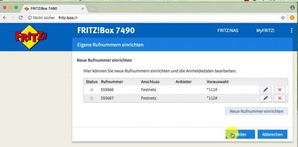 eigene Rufnummer einrichten - Fritzbox 7490