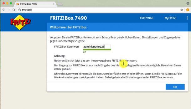 Fritzbox 7490 einrichten - Kennwort vergeben