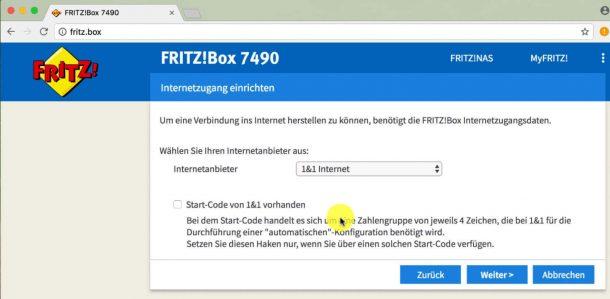 Internetzugang einrichten bei der Fritzbox 7490