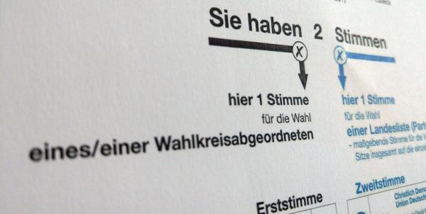 Stimmzettel Bundestagswahl: Breitbandversorgung