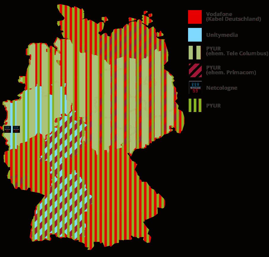 Kabelanbieter Karte - Kabelnetz in Deutschland
