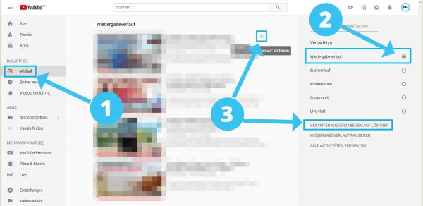 Youtube Wiedergabeverlauf löschen auf dem Desktop-PC