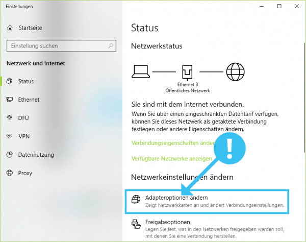 Adapteroptionen ändern in Windows 10