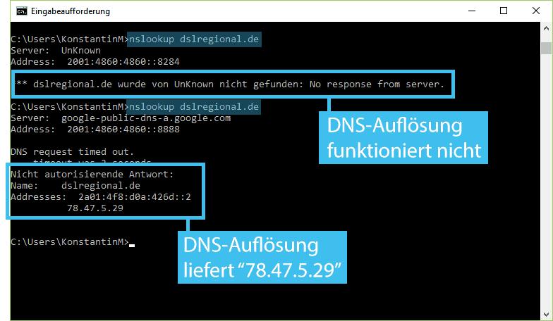 Mit dem Befehl nslookup den DNS-Server überprüfen