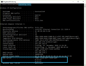 Eingabeaufforderung ipconfig /all zeigt die DNS-Server