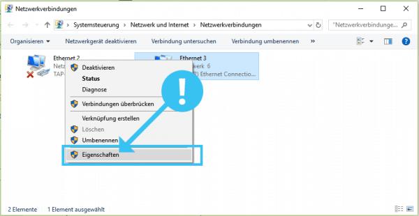 Ethernet-Adapter Eigenschaften