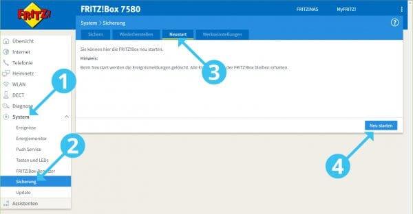 Fritzbox 7580: Neu starten