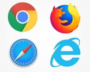 Gängige Webbrowser: Chrome, Firefox, Safari und Edge