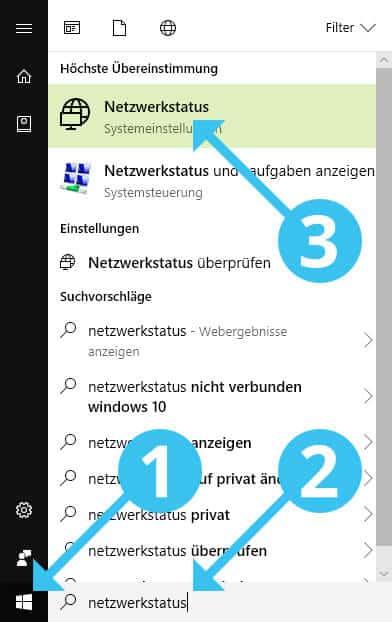 Windows 10 Netzwerkstatus öffnen