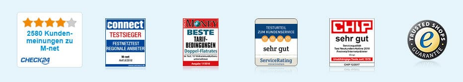 M-Net Auszeichnungen: Check24, Connect Testsieger, FOCUS Money, Chip, Trusted Shops