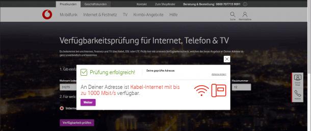 Vodafone Kabel Verfügbarkeit 1000 Mbit