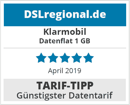 Klarmobil Datenflat 1GB Datentarif im April-2019