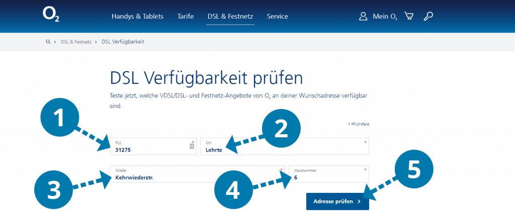 o2 DSL-Verfügbarkeit Formular
