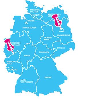 Karte mit Bonn und Berlin in Deutschland