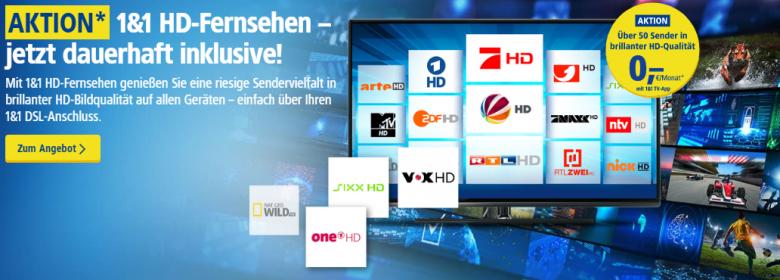 1und1 HD-Fernsehen beim Glasfaser-Tarif