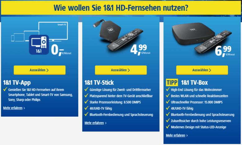 1&1 DSL-Angebot mit TV