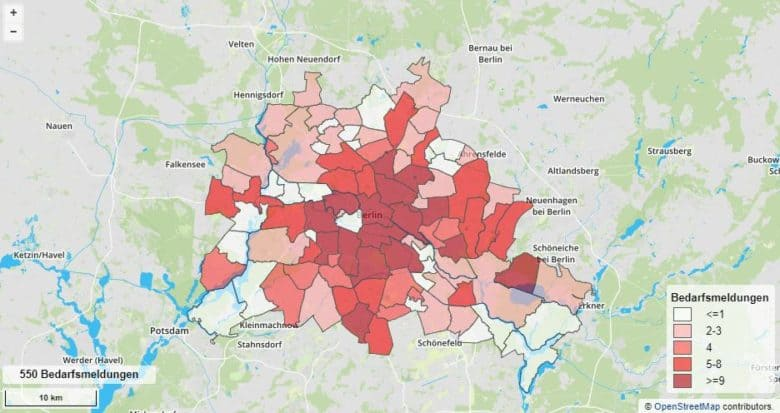Internet in Berlin DSL-Breitbandbedarf Karte