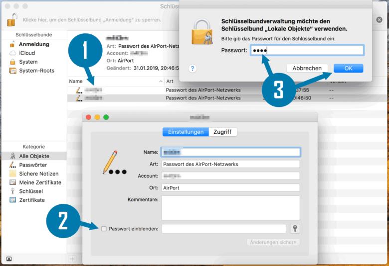 Mac OS WLAN-Passwort einblenden