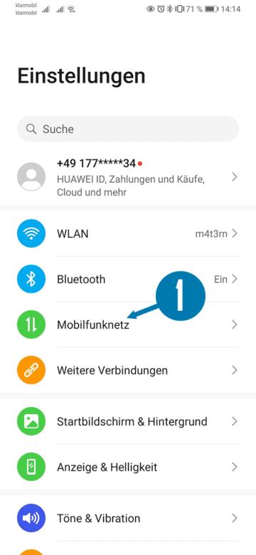 Android Einstellungen für Mobilfunknetz