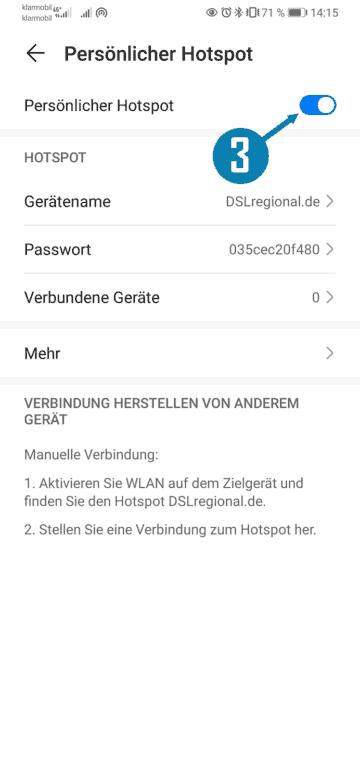 Android persönlicher Hotspot WLAN-Smartphone