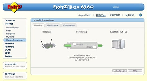 Fritzbox 6360: Kabel-Internet aktiv
